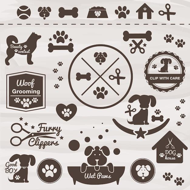 Haustiere hund vektor-icon-set Kostenlosen Vektoren
