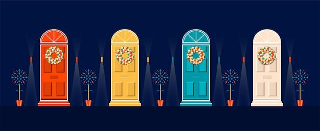 Haustüren zu weihnachten dekoriert. Premium Vektoren