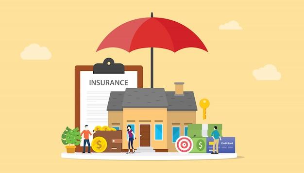 Hausversicherungskonzept mit ausgangs- und papiervertragsdokument Premium Vektoren