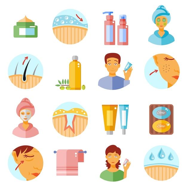 Hautpflege-icons set Premium Vektoren