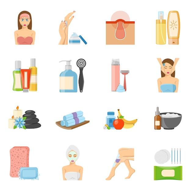 Hautpflege und bodycare flache ikonen Kostenlosen Vektoren