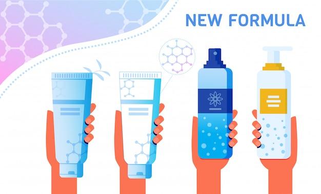 Hautpflegeprodukte mit neuer rezepturwerbung Premium Vektoren