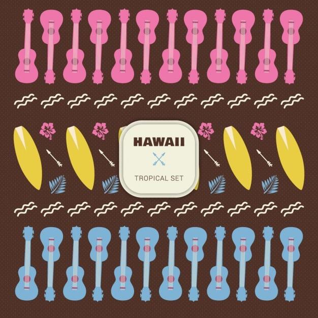 Hawai tropischen set elemente Kostenlosen Vektoren