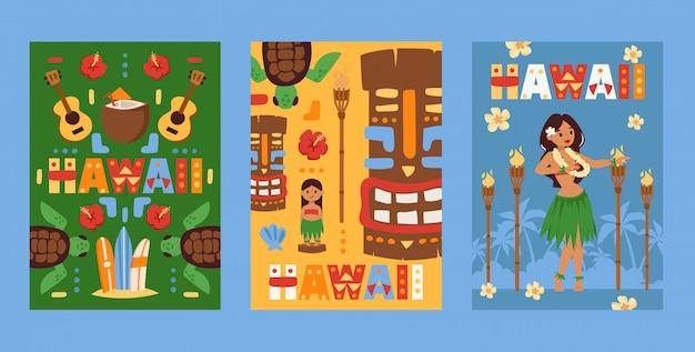 Hawaii banner, beach party einladung, flache karten mit symbolen der hawaiianischen kultur, Premium Vektoren