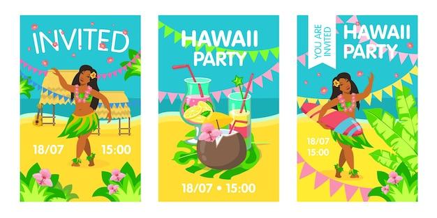 Hawaii-einladungskarte mit frau am strand. hawaii, cocktail, surfen, party Kostenlosen Vektoren
