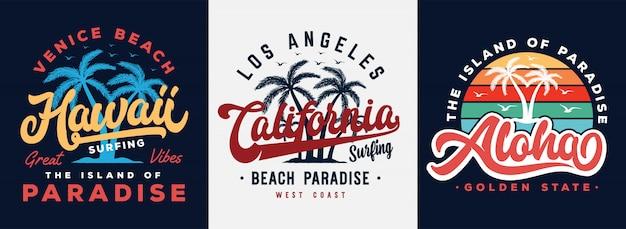 Hawaii, kalifornien und aloha setzen typografieslogan mit palmeabbildung auf den strand. thema vintage print design Premium Vektoren