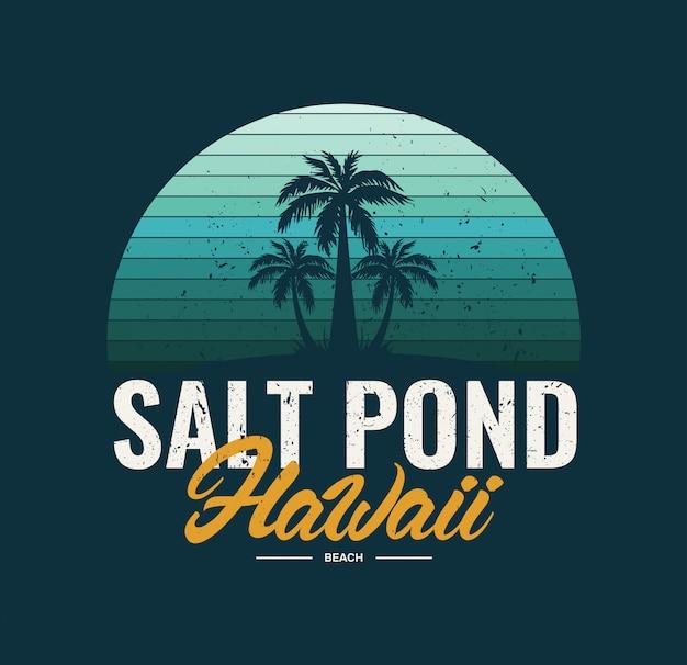 Hawaii-salzteichstrand Premium Vektoren