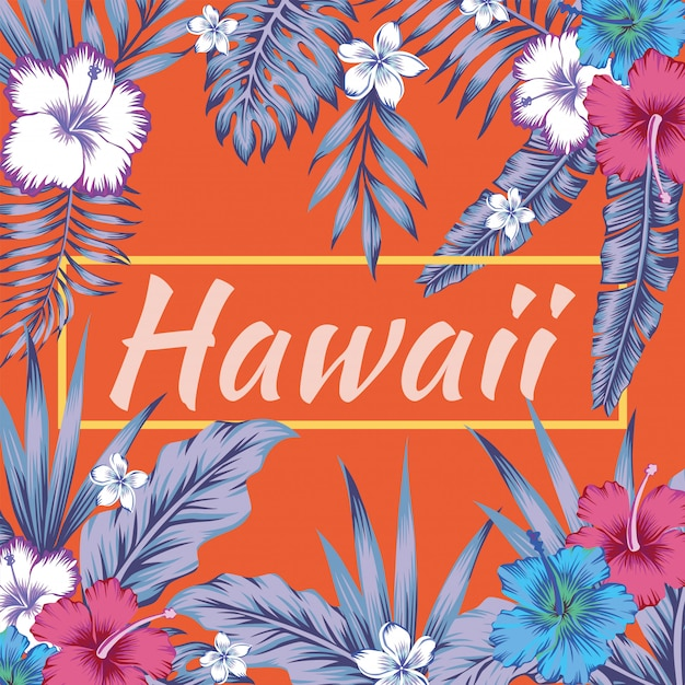 Hawaii-slogan tropischer blathibiscus-orangenhintergrund Premium Vektoren