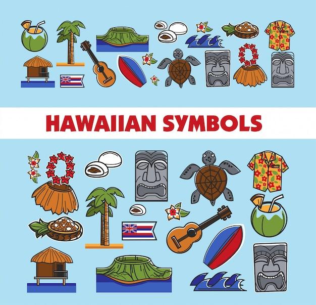Hawaiianische berühmte symbole Premium Vektoren