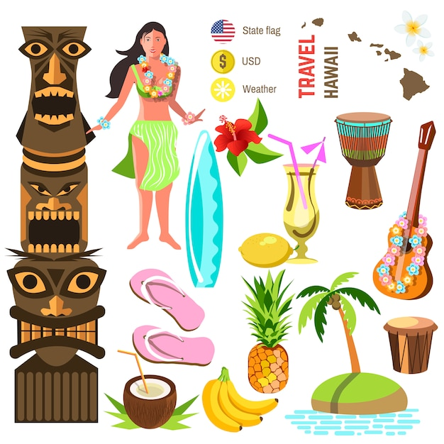 Hawaiianische symbole und symbole festgelegt Premium Vektoren