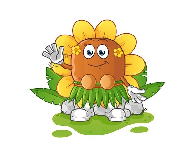 Hawaiianischer wellencharakter der sonnenblume Premium Vektoren