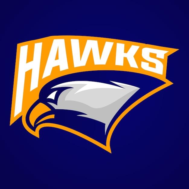 Hawk head logo maskottchen für sportverein Premium Vektoren