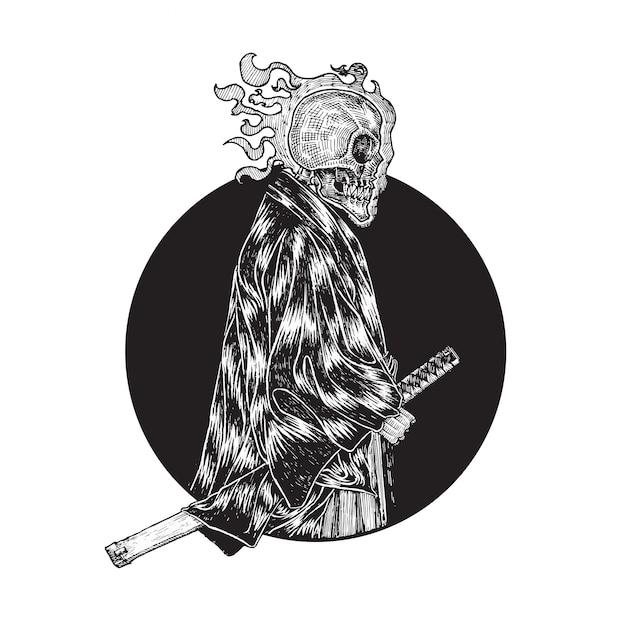 Head-flaming schädel-samurai-illustration Premium Vektoren