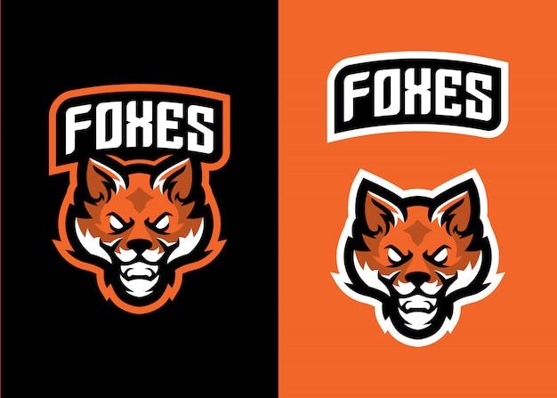 Head fox maskottchen logo für sport und esports logo Premium Vektoren