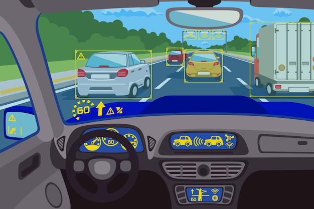 Head-up-systemtechnik im auto. steuerung des technologiesystems, zukünftiges technologie-dashboard, digitaler head-up-computer. vektorillustration Kostenlosen Vektoren