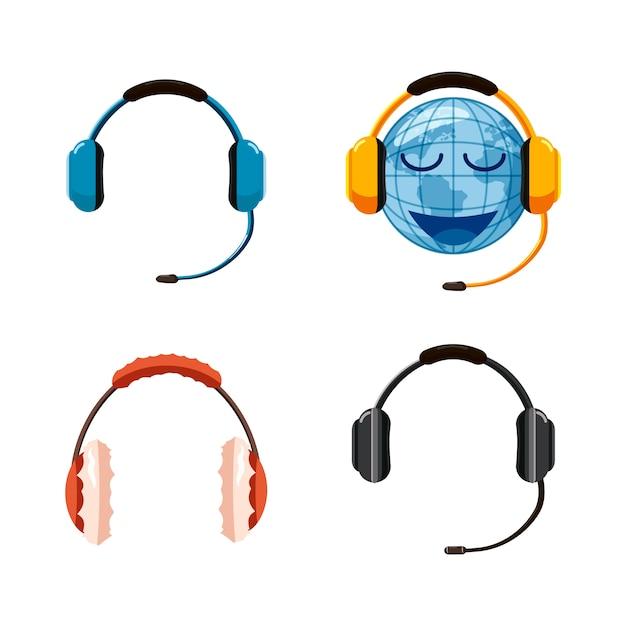 Headset eingestellt. cartoon-set von headset Premium Vektoren