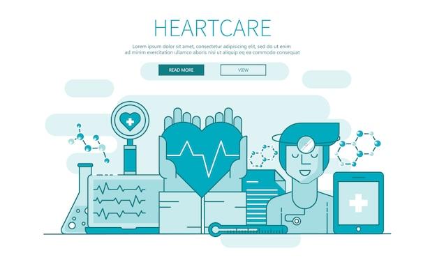 Heart care gliederungsbanner für websites und mobile app Premium Vektoren