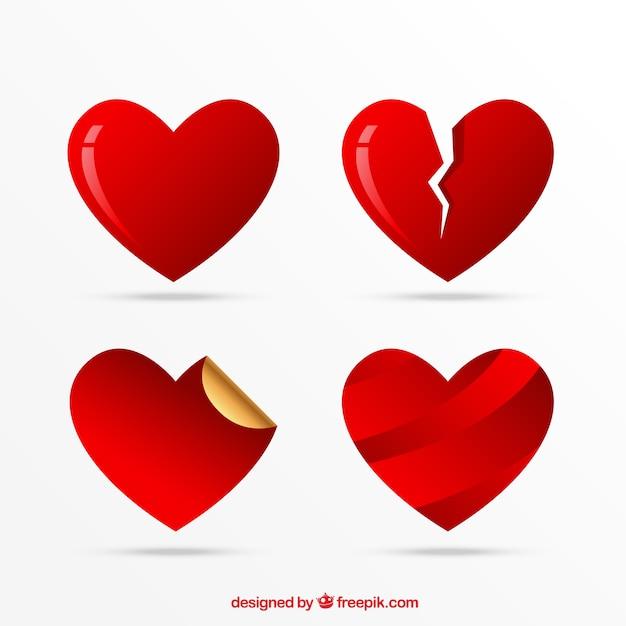 Heart icons set, liebe symbole Kostenlosen Vektoren