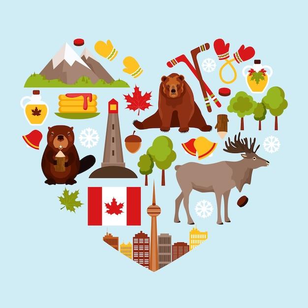 Heart-shaped hintergrund mit kanadischen elementen Kostenlosen Vektoren
