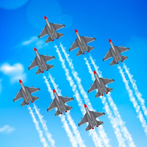 Heeresluftwaffenmilitärparadenjet-flugzeugbildungs-kondensstreifen gegen blauen himmel Kostenlosen Vektoren