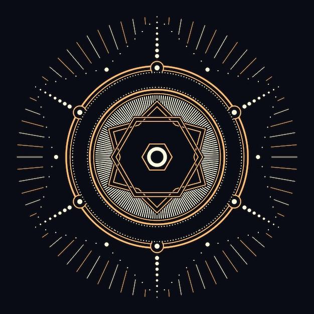 Heilige himmlische geometrische illustration Premium Vektoren