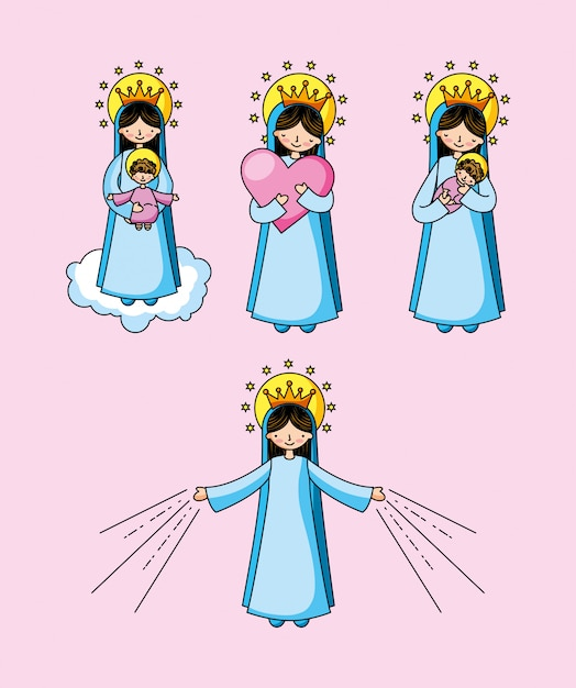 Heilige jungfrau maria karikatur Premium Vektoren