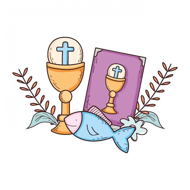Heiliger kelch mit bibel Premium Vektoren