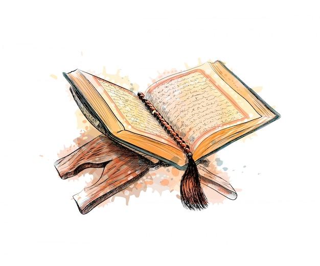 Heiliges koranbuch mit rosenkranz, handgezeichnete skizzenillustration Premium Vektoren