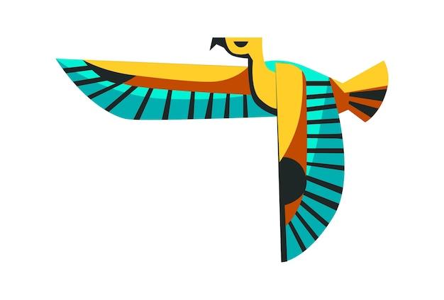 Heiliges tier des alten ägypten, fliegender falke, die verkörperung des sonnengottes ra horus, karikaturvektorillustration Kostenlosen Vektoren