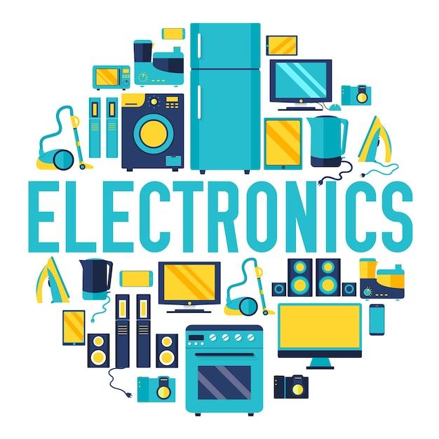 Heimelektronikgeräte kreis infografiken vorlage Premium Vektoren