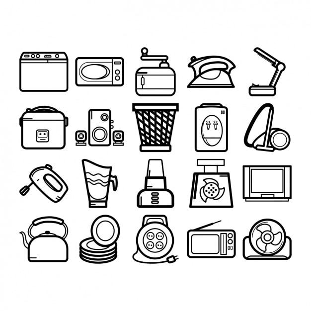Heimgeräte-ikonen-sammlung Kostenlosen Vektoren