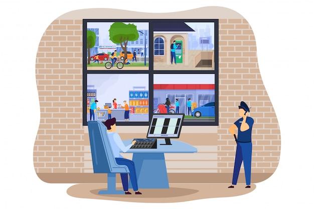 Heimsicherheitskamera überwacht im polizeibüro mit sicherer kluger hausdiebwächter-alarmsystemillustration. Premium Vektoren
