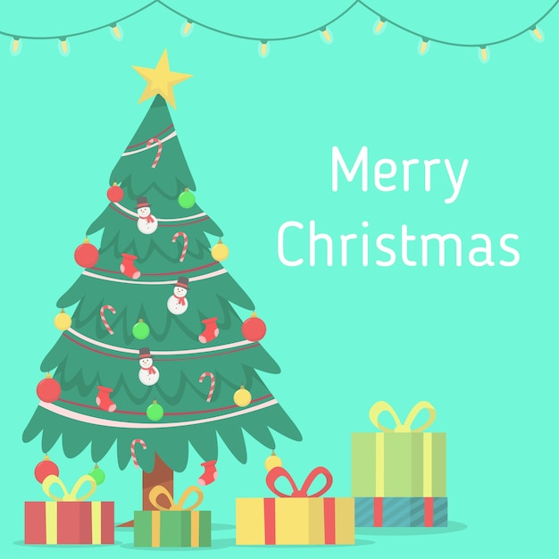 Heiraten sie weihnachten mit hängender lampe, weihnachtsbaum und geschenkboxhintergrund Premium Vektoren