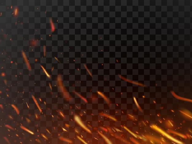 Heiße brennende scheine der nahaufnahme und flammenpartikel lokalisierten funken Premium Vektoren
