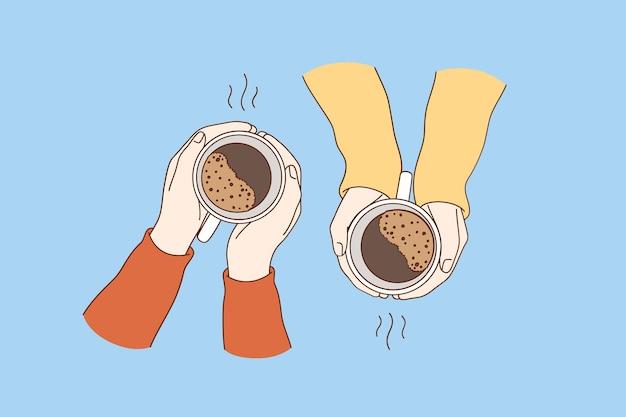 Heiße getränke zum frühstückskonzept. Premium Vektoren