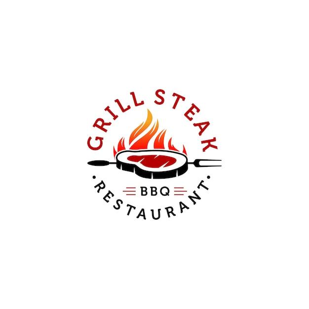 Heiße grill logo vorlagen Premium Vektoren