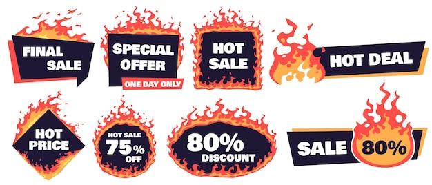 Heiße verkaufsabzeichen. fire deal banner, hot price badge und promotion bieten flammenden etikettenrahmen Kostenlosen Vektoren