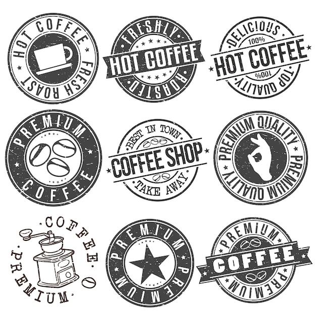 Heißer kaffee-getränk-cafeteria-stempel-vektor-design-satz Premium Vektoren
