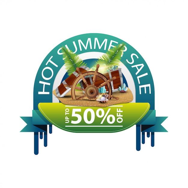 Heißer sommerschlussverkauf, rundes rabattweb-banner für ihr geschäft Premium Vektoren