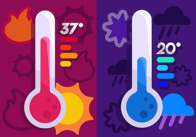 Heißes und kaltes thermometer Premium Vektoren