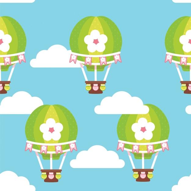 Heissluft-baloon-muster blauer himmel Premium Vektoren
