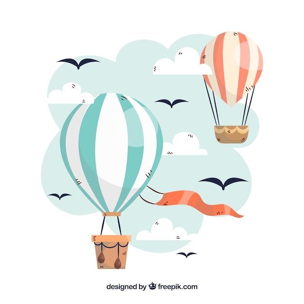 Heißluft steigt hintergrund im himmel mit wolken im ballon auf Kostenlosen Vektoren