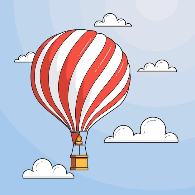 Heißluftballon im blauen himmel mit wolken unter dem meer. flache linie kunst vektor-illustration. abstrakte skyline. konzept für reisebüro, motivation, geschäftsentwicklung, grußkarte, banner, flyer. Premium Vektoren