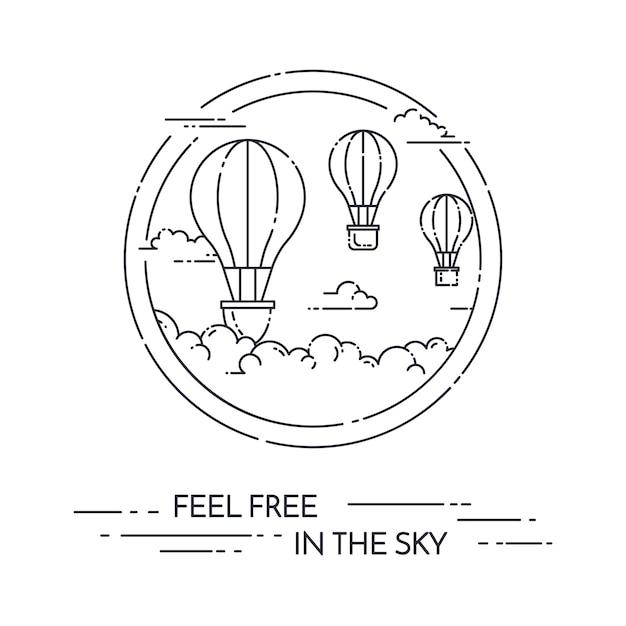 Heißluftballon im himmel mit den wolken lokalisiert auf weißem hintergrund. Premium Vektoren