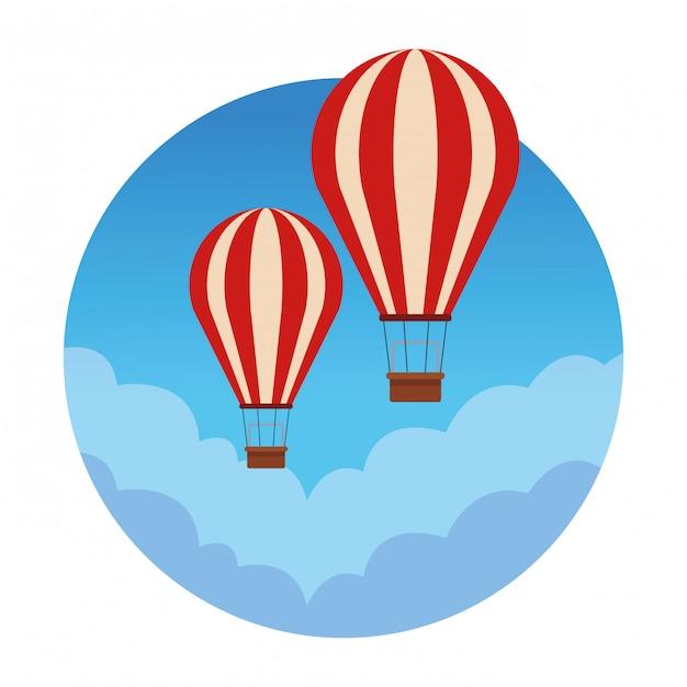 Heißluftballon reisen Premium Vektoren