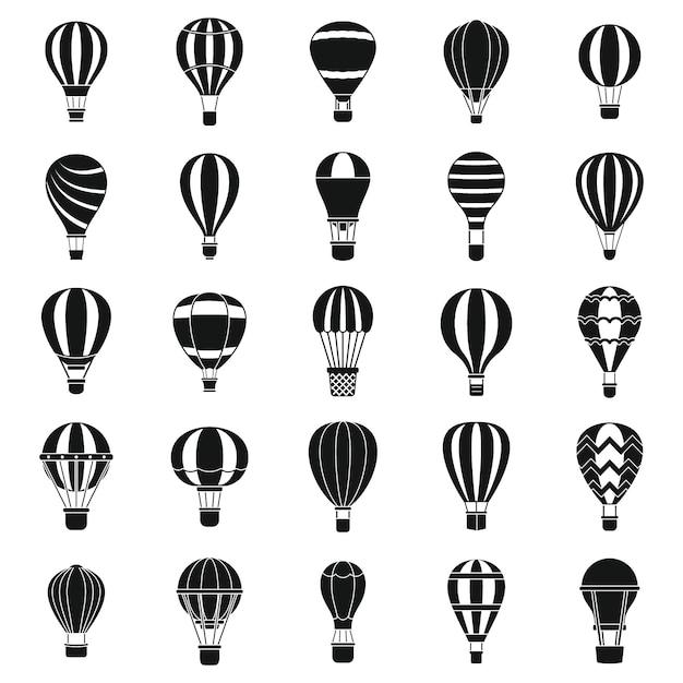 Heißluftballonikonen eingestellt Premium Vektoren