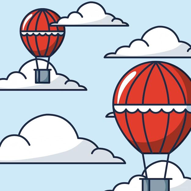 Heißluftballons abbildung Kostenlosen Vektoren