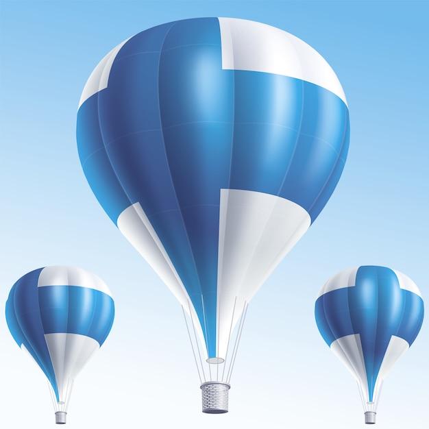 Heißluftballons als finnische flagge gemalt Premium Vektoren