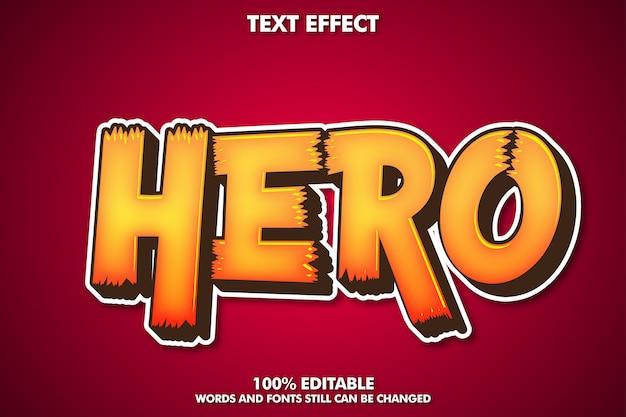 Heldenaufkleberetikett, bearbeitbarer cartoon-texteffekt Kostenlosen Vektoren