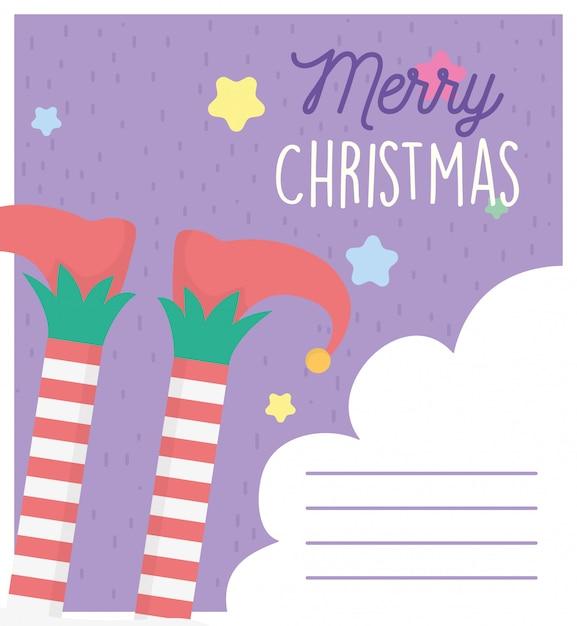 Helfer beine frohe weihnachten kartenvorlage Premium Vektoren